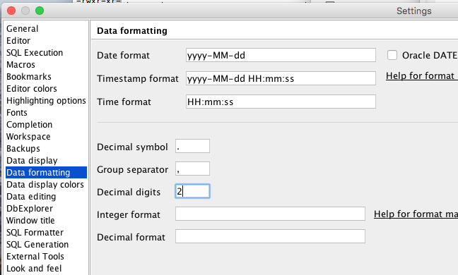 How do I change the resolution or scale of decimal data type
